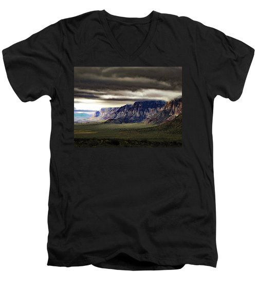 Stormy Morning In Red Rock Canyon Men's V-Neck T-Shirt by Alan Socolik
