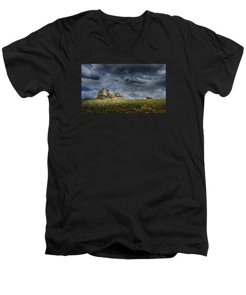 Stormy Peak 1 Men's V-Neck T-Shirt by Mary Angelini