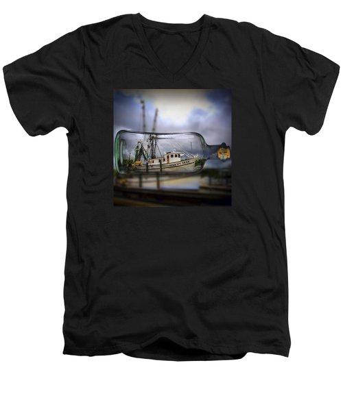 Stormy Seas - Ship In A Bottle Men's V-Neck T-Shirt by Bill Barber