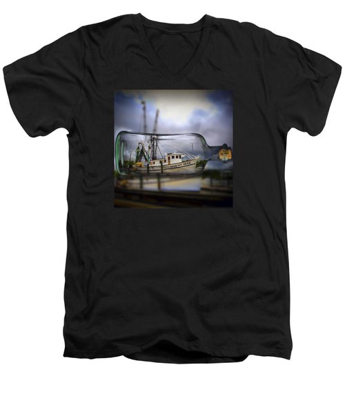 Men's V-Neck T-Shirt featuring the photograph Stormy Seas - Ship In A Bottle by Bill Barber