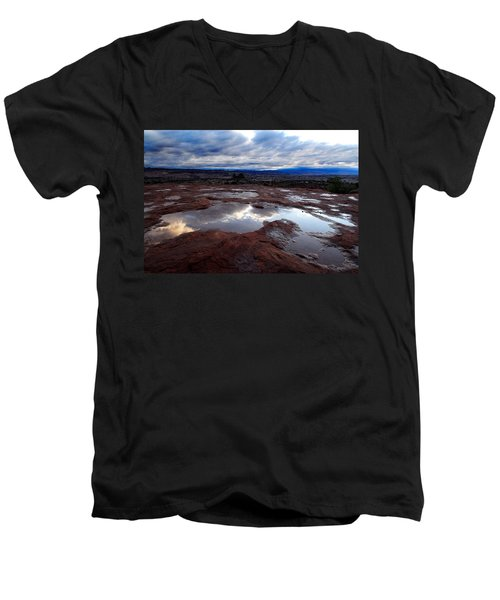 Men's V-Neck T-Shirt featuring the photograph Stormy Sunrise by Harry Spitz