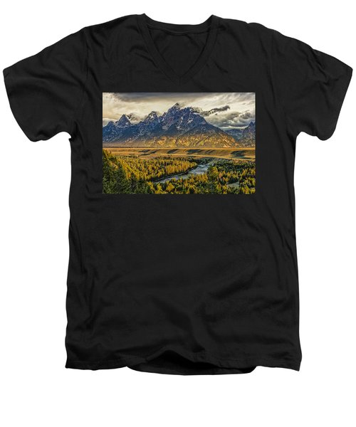 Stormy Sunrise Over The Grand Tetons And Snake River Men's V-Neck T-Shirt