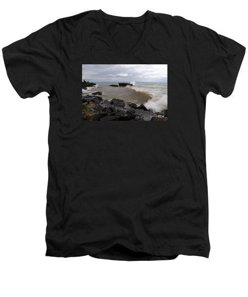 Men's V-Neck T-Shirt featuring the photograph Stormy Superior Morning by Sandra Updyke