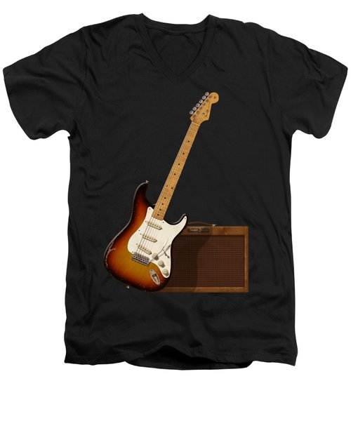 Strat And Tweed Amp Men's V-Neck T-Shirt by WB Johnston