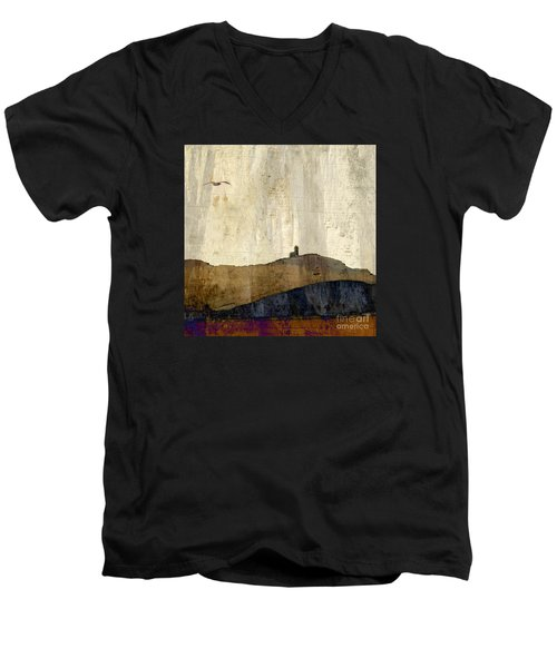 Men's V-Neck T-Shirt featuring the photograph Strata With Lighthouse And Gull by LemonArt Photography