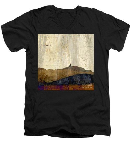 Strata With Lighthouse And Gull Men's V-Neck T-Shirt