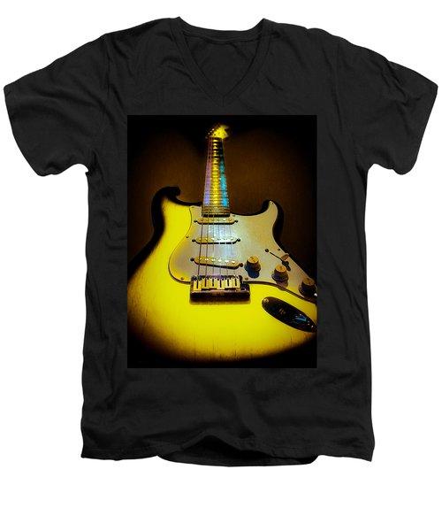 Stratocaster Lemon Burst Glow Neck Series Men's V-Neck T-Shirt
