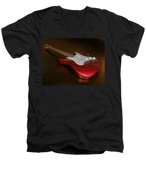 Stratocaster On A Golden Floor Men's V-Neck T-Shirt by James Barnes