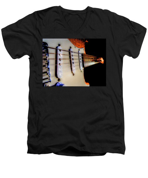 Men's V-Neck T-Shirt featuring the photograph Stratocaster Pop Art Tangerine Sparkle Fire Neck Series by Guitar Wacky