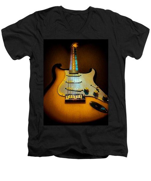 Stratocaster Tobacco Burst Glow Neck Series  Men's V-Neck T-Shirt