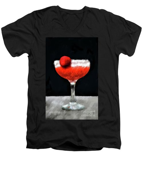 Men's V-Neck T-Shirt featuring the photograph Strawberry Margarita by Lois Bryan