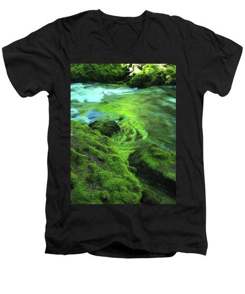 Stream Above Whitehorse Falls Men's V-Neck T-Shirt