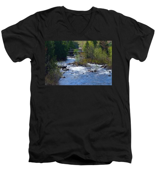 Stream In Spring Men's V-Neck T-Shirt