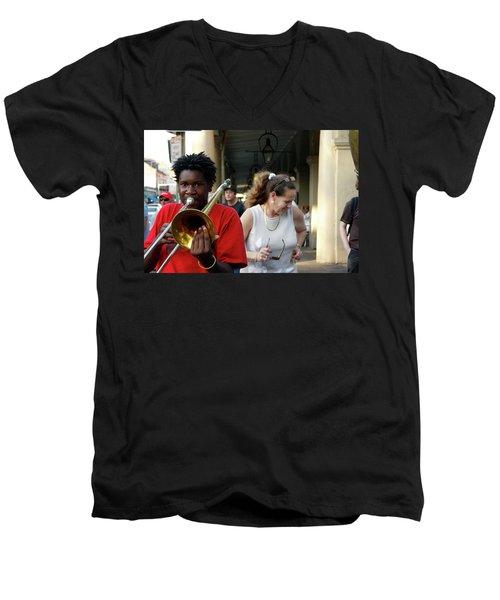 Men's V-Neck T-Shirt featuring the photograph Street Jazz by KG Thienemann