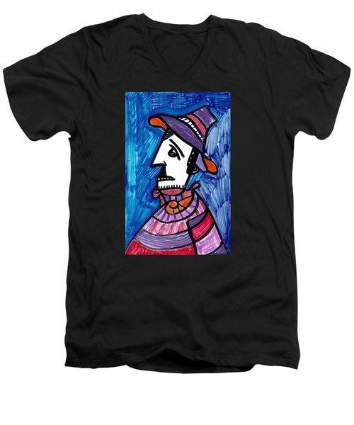 Men's V-Neck T-Shirt featuring the painting Street Peddler by Don Koester