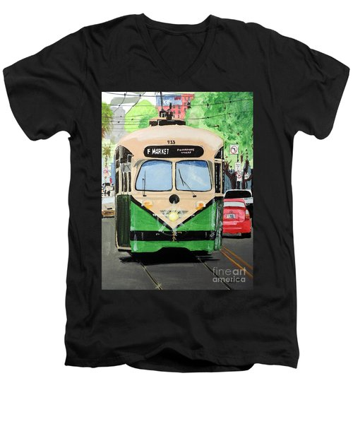 Men's V-Neck T-Shirt featuring the painting Streetcar Not Named Desire by Tom Riggs