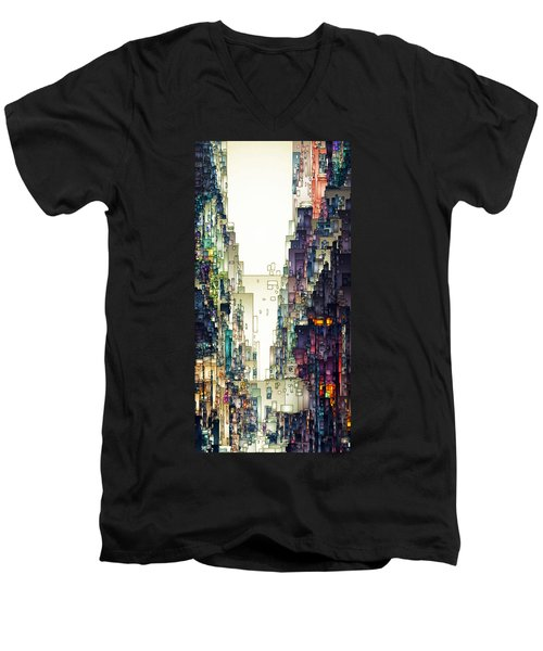 Streetscape 1 Men's V-Neck T-Shirt by David Hansen
