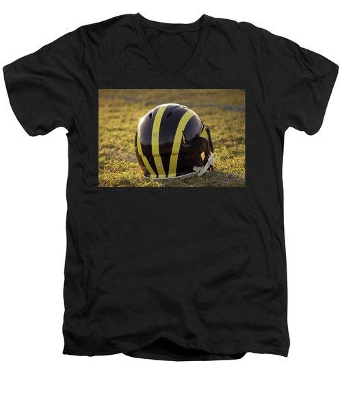 Striped Wolverine Helmet On The Field At Dawn Men's V-Neck T-Shirt