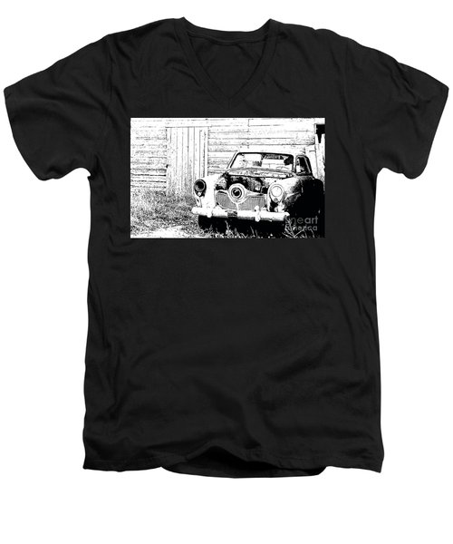 Studebaker Black And White Men's V-Neck T-Shirt