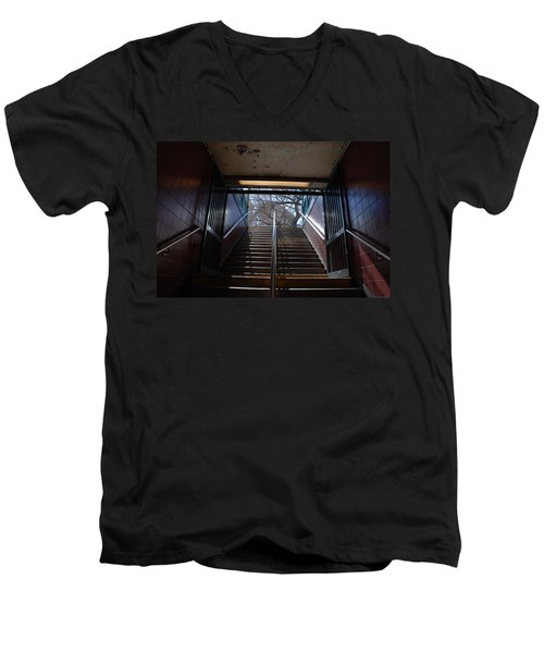 Men's V-Neck T-Shirt featuring the photograph Subway Stairs To Freedom by Rob Hans