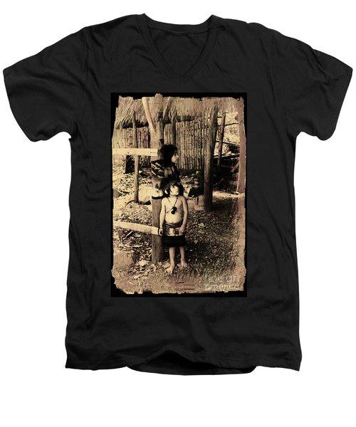 Men's V-Neck T-Shirt featuring the photograph Sucua Kids 895 by Al Bourassa