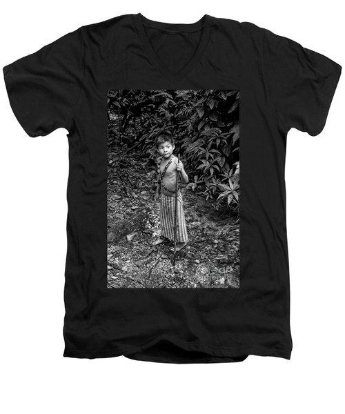 Men's V-Neck T-Shirt featuring the photograph Sucua Kids 898 by Al Bourassa