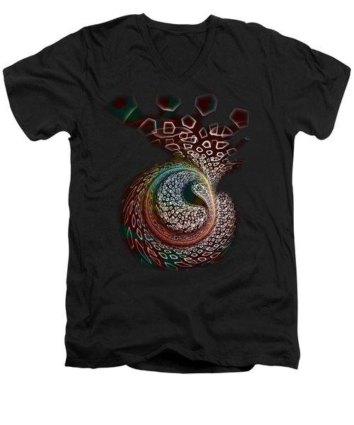 Men's V-Neck T-Shirt featuring the digital art Sudden Outburst by Anastasiya Malakhova