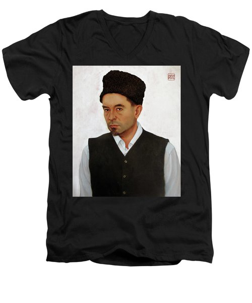 Sufi With Astrakhan Hat Men's V-Neck T-Shirt