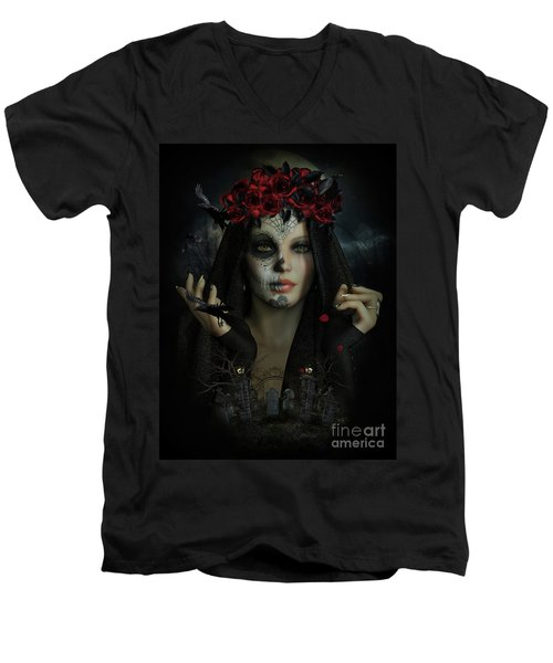 Men's V-Neck T-Shirt featuring the digital art Sugar Doll Magic by Shanina Conway