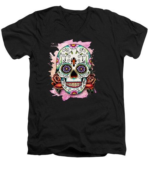 Sugar Skull Men's V-Neck T-Shirt
