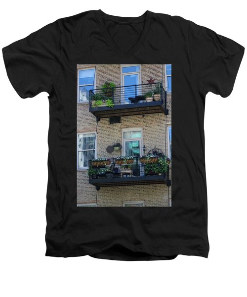 Summer Balconies In Chicago Illinois Men's V-Neck T-Shirt