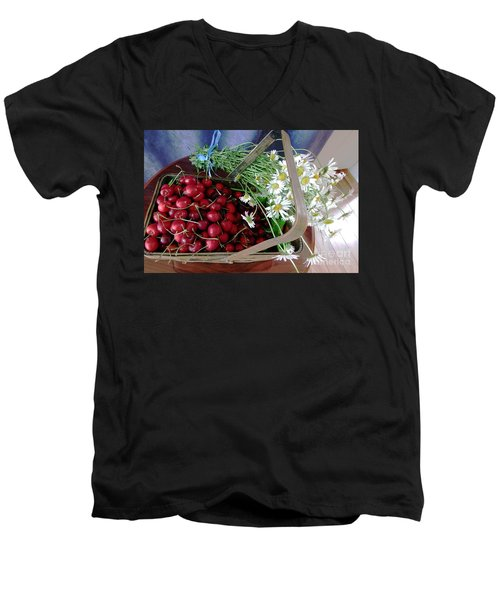 Summer Basket Men's V-Neck T-Shirt by Vicky Tarcau