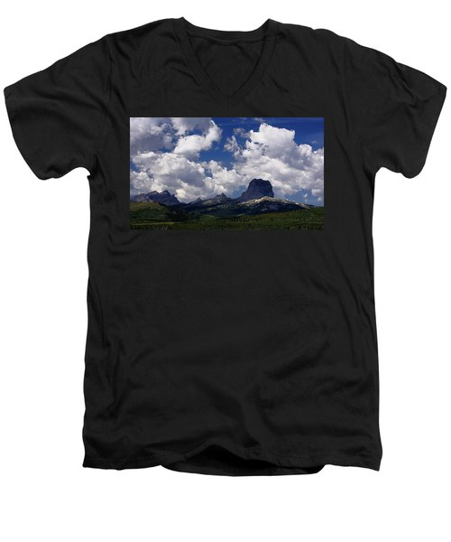 Summer Day At Chief Mountain Men's V-Neck T-Shirt