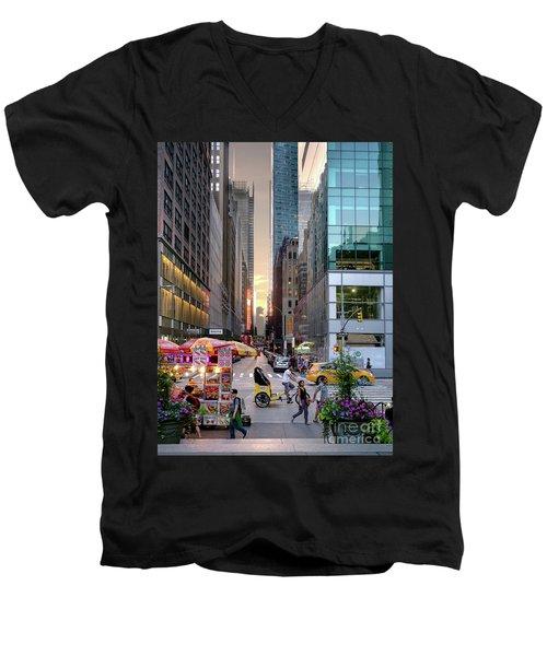 Summer Evening, New York City  -17705-17711 Men's V-Neck T-Shirt