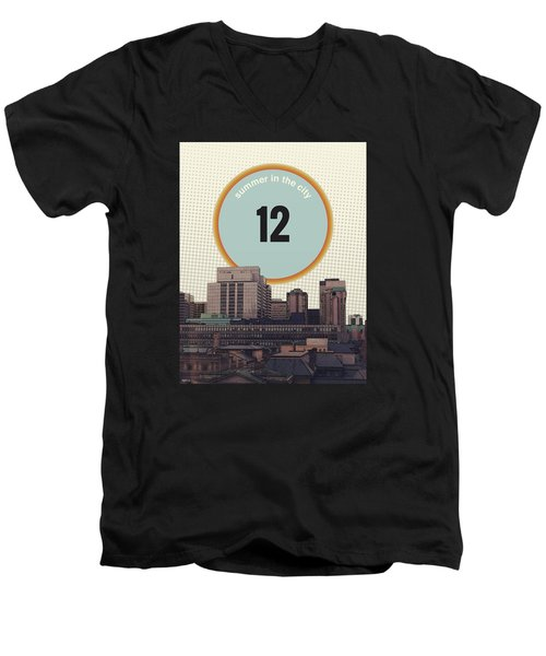 Men's V-Neck T-Shirt featuring the photograph Summer In The City by Phil Perkins