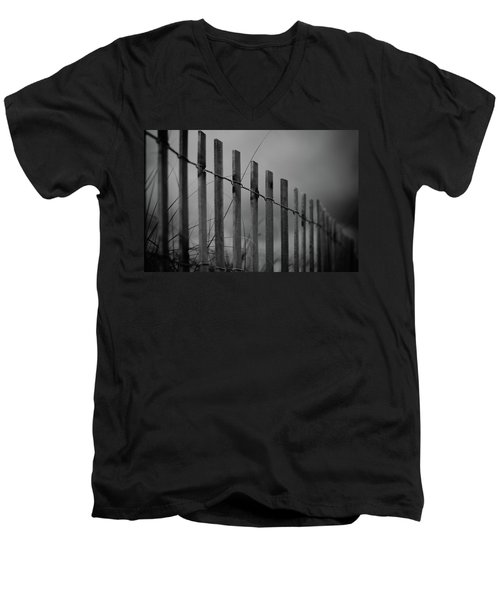Men's V-Neck T-Shirt featuring the photograph Summer Storm Beach Fence Mono by Laura Fasulo