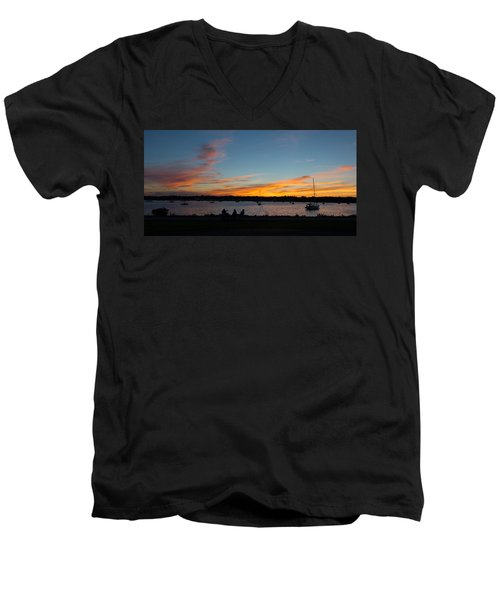 Summer Sunset With Friends Men's V-Neck T-Shirt by Kenneth Cole