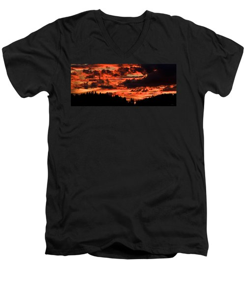 Summer's Crimson Fire Men's V-Neck T-Shirt
