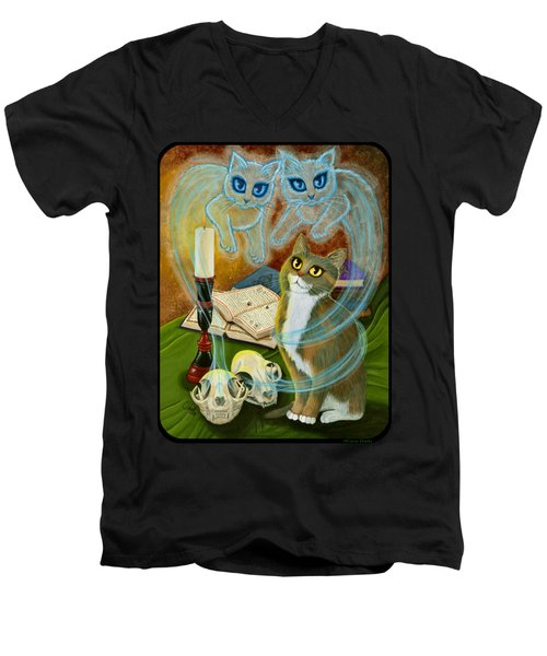 Men's V-Neck T-Shirt featuring the painting Summoning Old Friends - Ghost Cats Magic by Carrie Hawks
