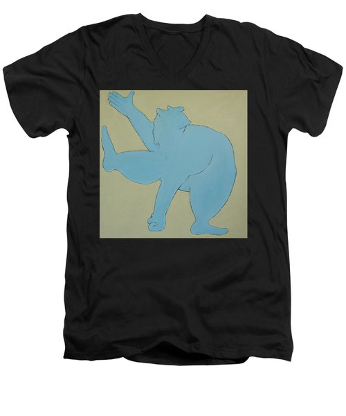 Men's V-Neck T-Shirt featuring the painting Sumo Wrestler In Blue by Ben Gertsberg