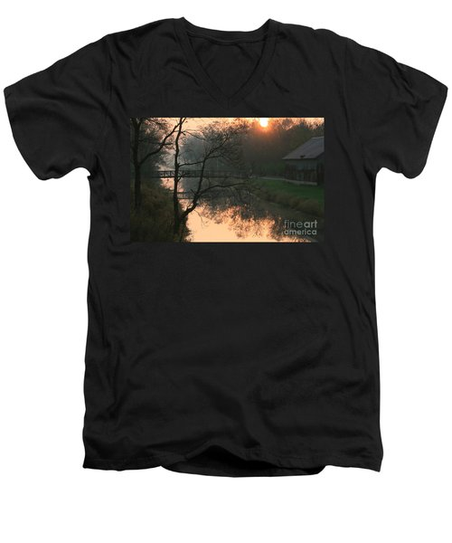 Men's V-Neck T-Shirt featuring the photograph Sun Above The Trees by Paula Guttilla
