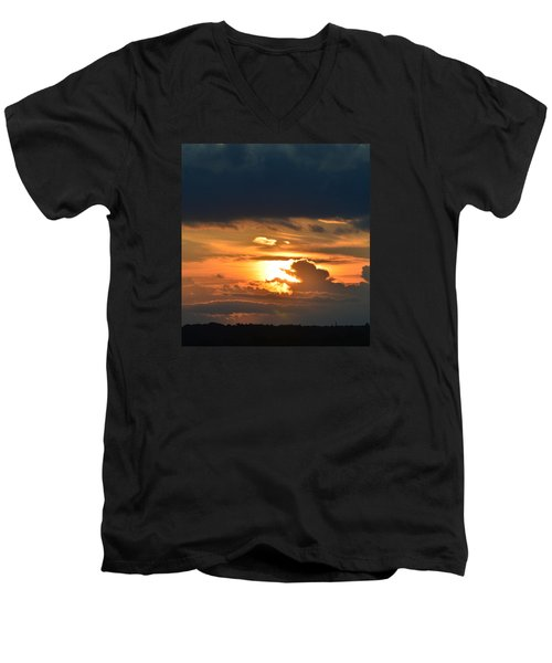 Men's V-Neck T-Shirt featuring the photograph Sun And Dark Clouds  by Lyle Crump
