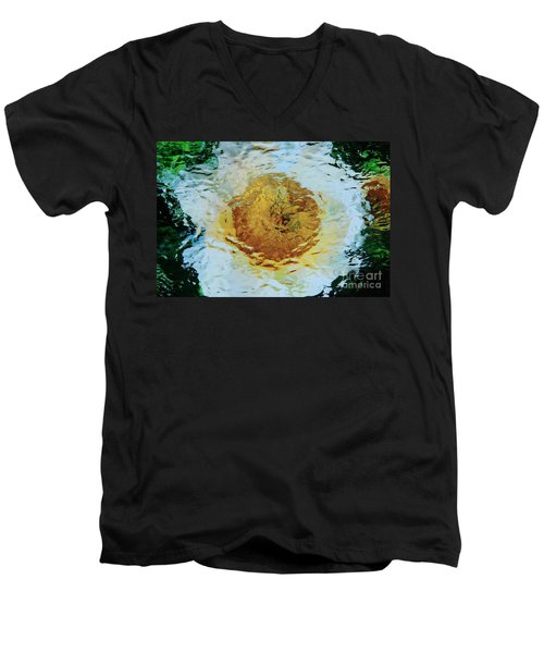 Sun And Moon Peony Impression Men's V-Neck T-Shirt by Jeanette French