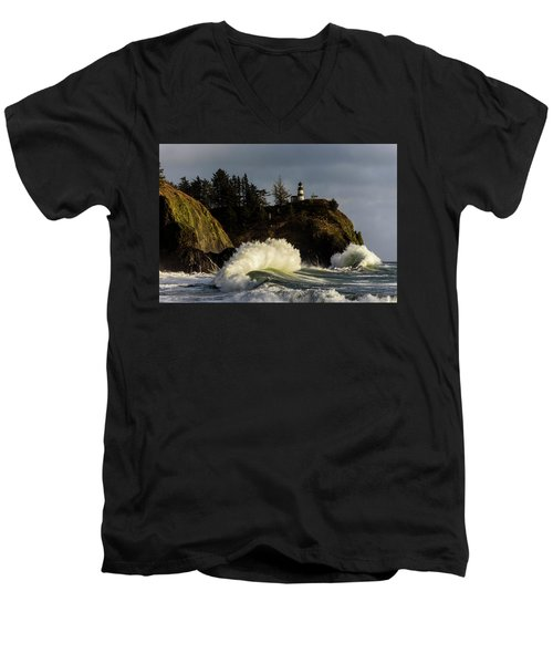 Sun And Surf With Lighthouse Men's V-Neck T-Shirt