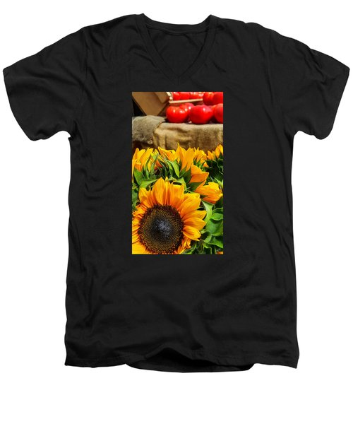 Sun Flowers And Tomatoes Men's V-Neck T-Shirt by Bruce Carpenter