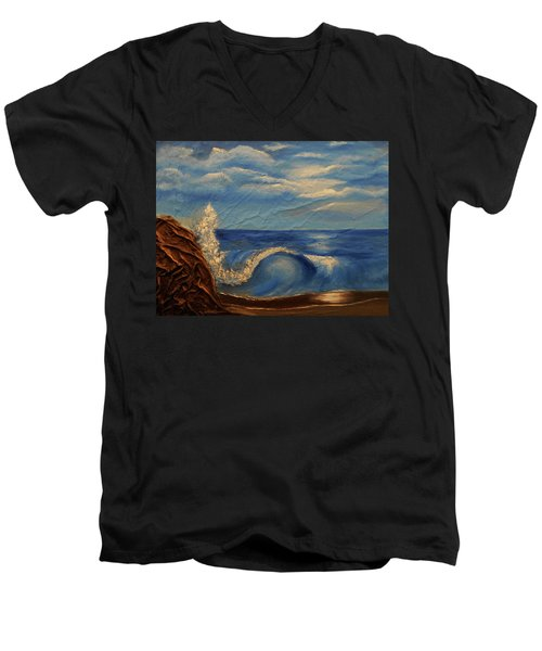 Sun Over The Ocean Men's V-Neck T-Shirt by Angela Stout