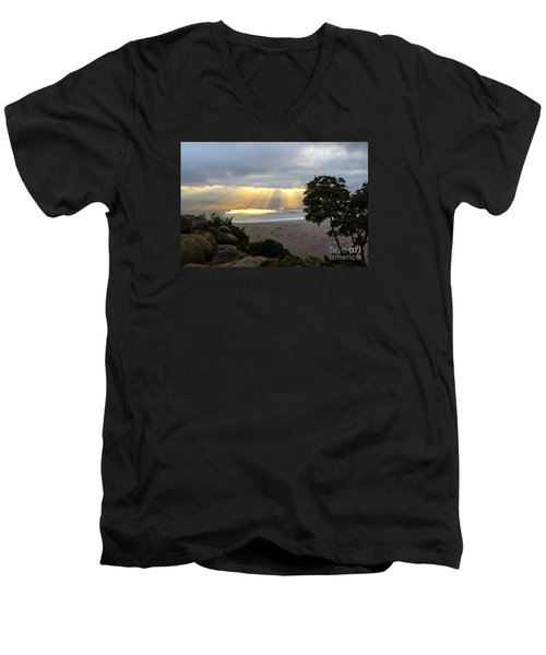 Men's V-Neck T-Shirt featuring the photograph Sun Rays by Pravine Chester