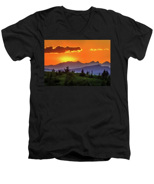 Men's V-Neck T-Shirt featuring the painting Sun Rising by Harry Warrick