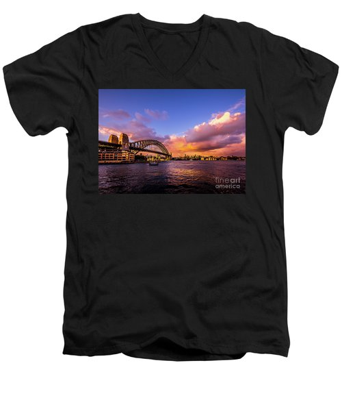 Men's V-Neck T-Shirt featuring the photograph Sun Up by Perry Webster
