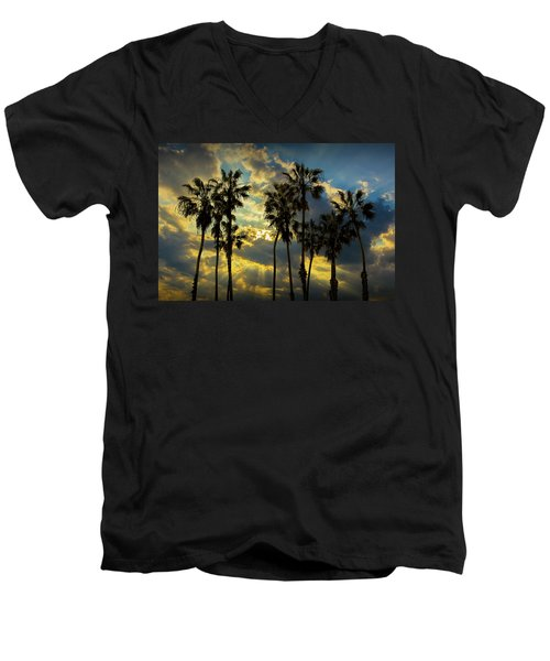 Men's V-Neck T-Shirt featuring the photograph Sunbeams And Palm Trees By Cabrillo Beach by Randall Nyhof